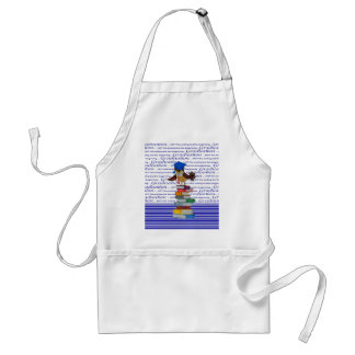 Owl Wearing Tie and Grad Cap on Top of Books, Grad Standard Apron