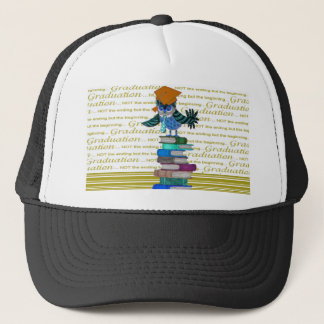 Owl Wearing Tie, Grad Cap on Top of Books, Grad