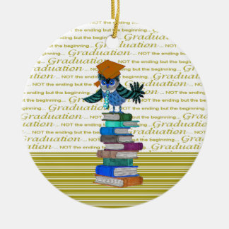 Owl Wearing Tie, Grad Cap on Top of Books, Grad Ceramic Ornament