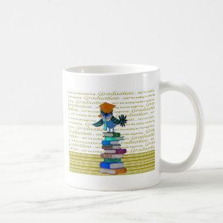 Owl Wearing Tie, Grad Cap on Top of Books, Grad Coffee Mug