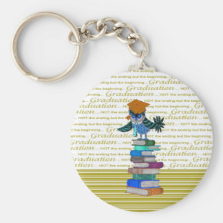 Owl Wearing Tie, Grad Cap on Top of Books, Grad Keychain