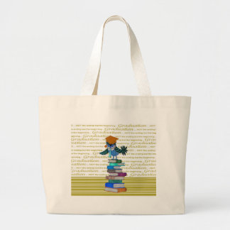 Owl Wearing Tie, Grad Cap on Top of Books, Grad Large Tote Bag