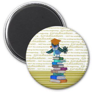 Owl Wearing Tie, Grad Cap on Top of Books, Grad Magnet