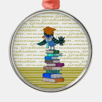 Owl Wearing Tie, Grad Cap on Top of Books, Grad Metal Ornament