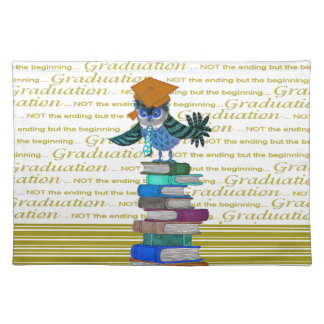Owl Wearing Tie, Grad Cap on Top of Books, Grad Placemat