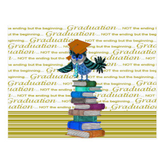 Owl Wearing Tie, Grad Cap on Top of Books, Grad Postcard