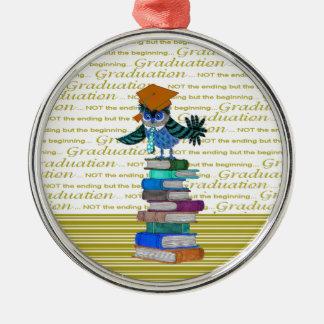 Owl Wearing Tie, Grad Cap on Top of Books, Grad Silver-Colored Round Ornament