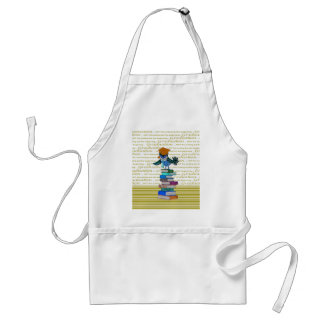 Owl Wearing Tie, Grad Cap on Top of Books, Grad Standard Apron