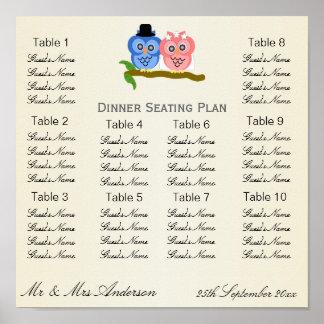 Owl Wedding Dinner Seating Plan Poster