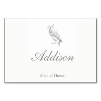 Owl Wedding Place Cards Table Card