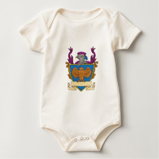 Owl Wings Spread Knight Helmet Drawing Baby Bodysuit
