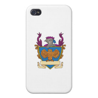 Owl Wings Spread Knight Helmet Drawing Case For iPhone 4