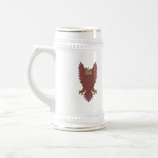 Owl Wings Spread Swooping Clock Gears Drawing Beer Stein