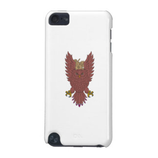 Owl Wings Spread Swooping Clock Gears Drawing iPod Touch (5th Generation) Case