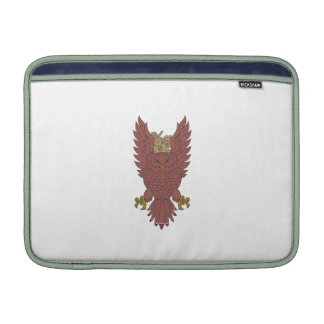 Owl Wings Spread Swooping Clock Gears Drawing MacBook Air Sleeves