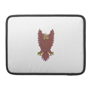 Owl Wings Spread Swooping Clock Gears Drawing Sleeve For MacBooks
