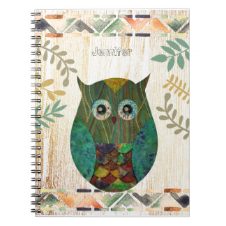 Owl Wisdom Tribal Motif Spiral Notebook