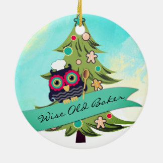 owl wise old baker cookie tree Christmas ornament