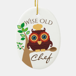 owl wise old chef culinary Christmas ornament