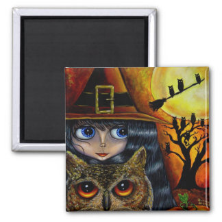 Owl Witch Square Magnet