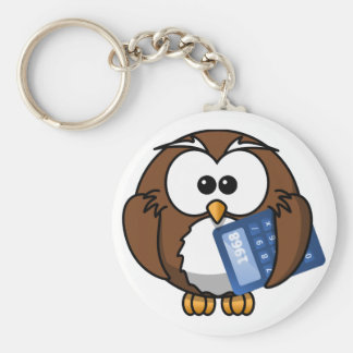 Owl with Calculator, math, student, accounting, Basic Round Button Keychain