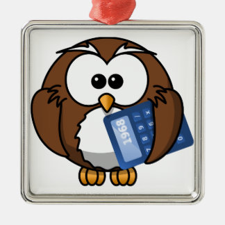 Owl with Calculator, math, student, accounting, Silver-Colored Square Ornament