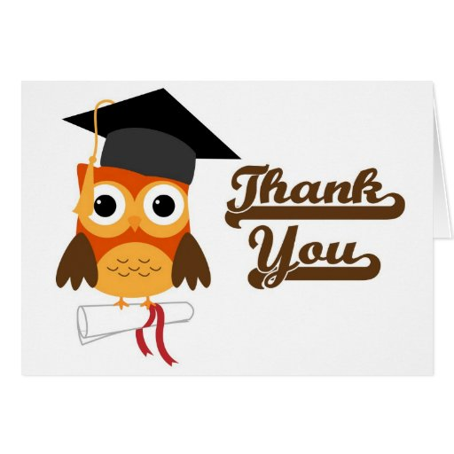 Owl with Cap and Diploma Graduation Thank You Card