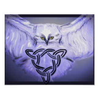 Owl with Celtic Knot Poster