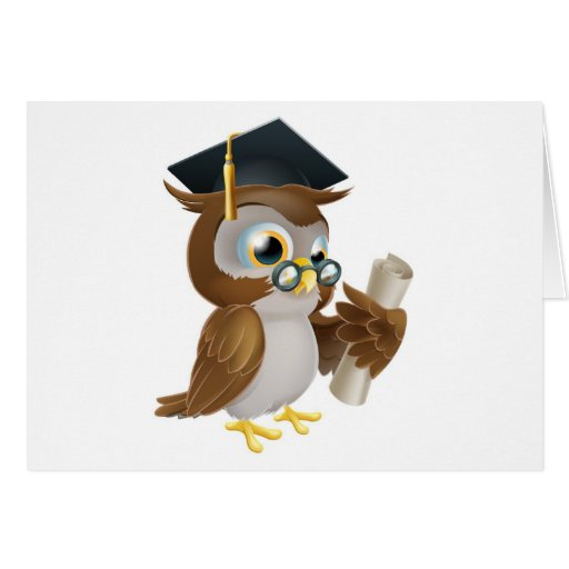 Owl with degree or qualification cards