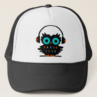 Owl with Earphones Trucker Hat