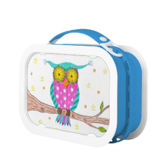 Owl with flowery eyes kid lunch box