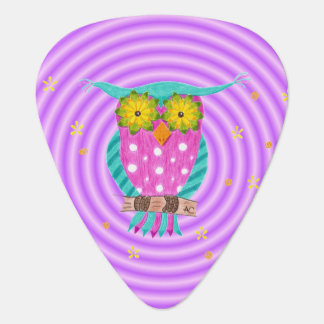 Owl with flowery eyes purple guitar pick
