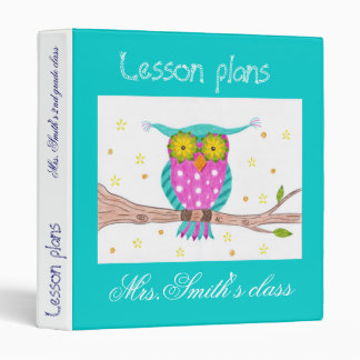 Owl with flowery eyes teacher binder
