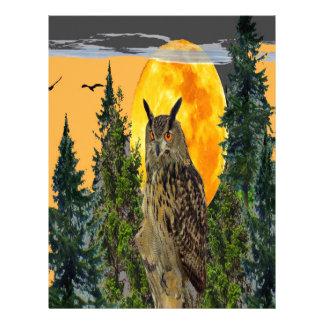 OWL WITH FULL MOON & PINE TREES LETTERHEAD