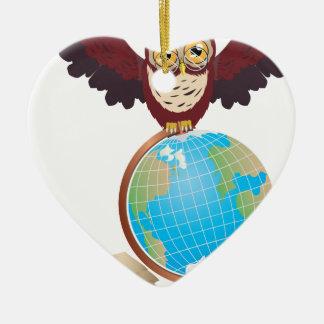 Owl with Globe 2 Ceramic Heart Ornament