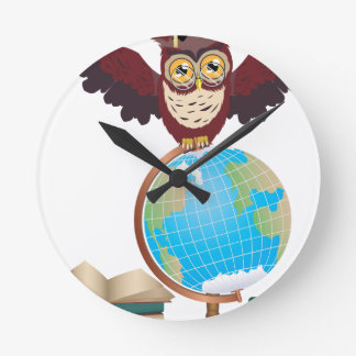 Owl with Globe 2 Wallclock
