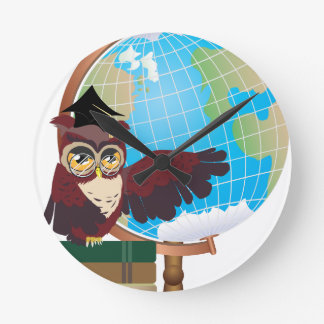 Owl with Globe Wallclock