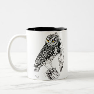 Owl with Grasshopper Mug in ink