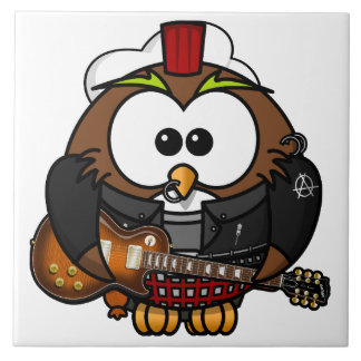 Owl with Guitar Tile