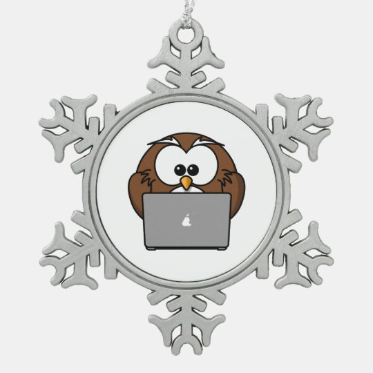 Owl With Laptop Pewter Snowflake Ornament
