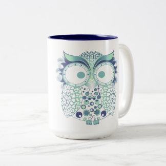 Owl with leopard print Two-Tone coffee mug