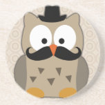 Owl with Moustache and Hat Coasters