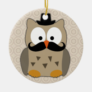 Owl with Mustache and Hat Round Ceramic Ornament