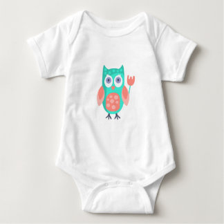 Owl With Party Attributes Girly Stylized Funky Baby Bodysuit