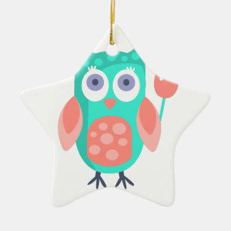 Owl With Party Attributes Girly Stylized Funky Ceramic Ornament