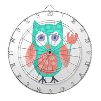 Owl With Party Attributes Girly Stylized Funky Dartboard
