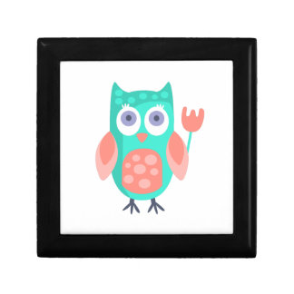 Owl With Party Attributes Girly Stylized Funky Gift Box