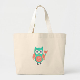 Owl With Party Attributes Girly Stylized Funky Large Tote Bag