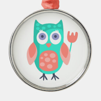 Owl With Party Attributes Girly Stylized Funky Metal Ornament