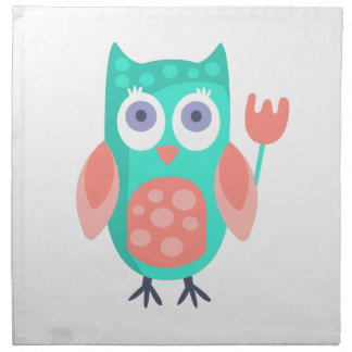 Owl With Party Attributes Girly Stylized Funky Napkin